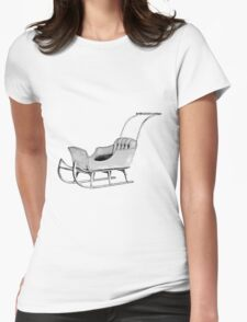 Let's Go For a Sleigh Ride! Christmas Vintage Sleigh. Womens Fitted T-Shirt