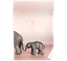 Pink Elephant and her Bub Poster