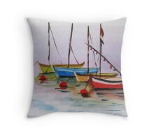 Petite Boats Provence France Throw Pillow