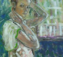 Marie - Acrylic Portrait by Angela Gannicott