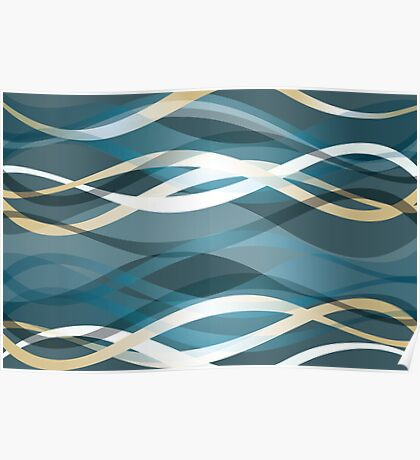 Abstract background with blue and gold ribbons Poster
