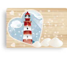 Lighthouse in heart on wooden board Canvas Print