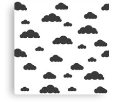 Black clouds on white Canvas Print
