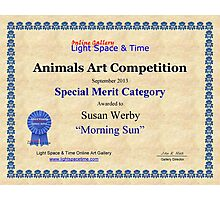 "Special Merit Category-Animals Competition-""Morning Sun"" Photographic Print"