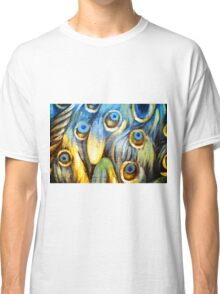 Blue Golden Yellow Peacock Feather Painting Classic T-Shirt
