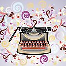Creative typewriter in retro style with colorful swirls by schtroumpf2510
