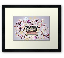 Creative typewriter in retro style with colorful swirls Framed Print