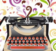 Creative typewriter in retro style with colorful swirls Sticker