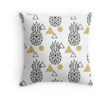 Triangle pineapple with glitter shapes on white. Throw Pillow
