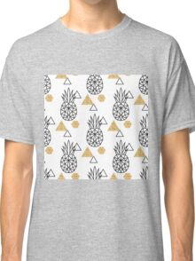 Triangle pineapple with glitter shapes on white. Classic T-Shirt