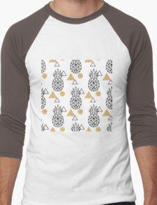 Triangle pineapple with glitter shapes on white. Men's Baseball ¾ T-Shirt