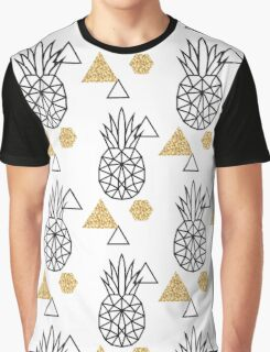Triangle pineapple with glitter shapes on white. Graphic T-Shirt
