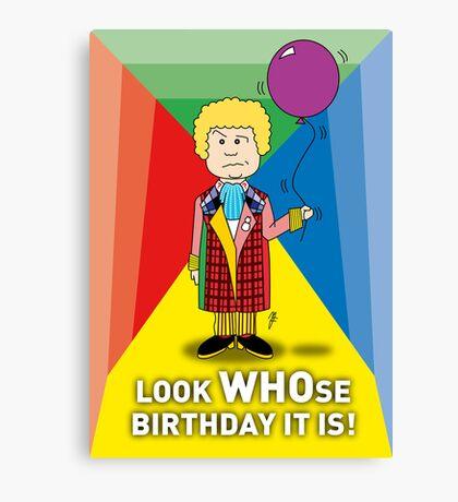 A Sixth Doctor Who themed Birthday Card Canvas Print