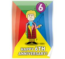 A Sixth Doctor Who themed Anniversary Card Poster
