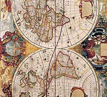 Vintage World Map Circa 1600 by pjwuebker