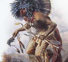 Karl Bodmer - Moennitarri Warrior doing Dog Dance  by William Martin