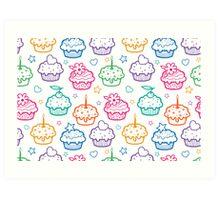 Colorful doodle cupcakes pattern Art Print
