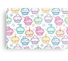 Colorful doodle cupcakes pattern Metal Print