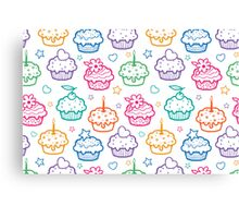 Colorful doodle cupcakes pattern Canvas Print