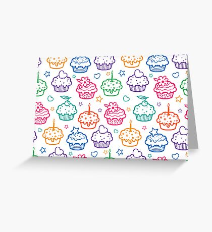 Colorful doodle cupcakes pattern Greeting Card