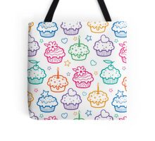 Colorful doodle cupcakes pattern Tote Bag
