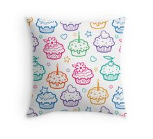 Colorful doodle cupcakes pattern Throw Pillow