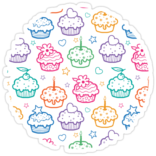 Colorful doodle cupcakes pattern by oksancia