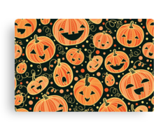 Fun Halloween pumpkins pattern Canvas Print