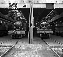 Didcot Railway Yard / Engine Shed B&W II by Simon Lawrence