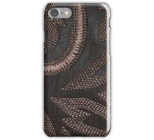 Decoratively Sewn Brown Vintage Leather iPhone Case/Skin