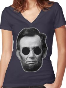 Abe Lincoln and Cheap Sunglasses Women's Fitted V-Neck T-Shirt