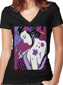 Kuriously Kawaii Women's Fitted V-Neck T-Shirt