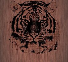 Tiger on Dark Brown Wood by Nhan Ngo