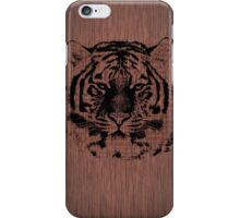 Tiger on Dark Brown Wood iPhone Case/Skin