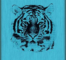 Tiger on Blue Wood Grain  by Nhan Ngo