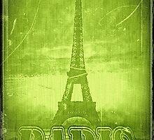 Vintage Green Paris Eiffel Tower by Nhan Ngo