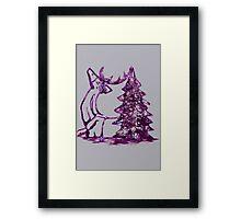 Christmas Reindeer and Tree Framed Print