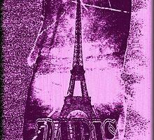 Vintage Purple Paris Eiffel Tower  by Nhan Ngo