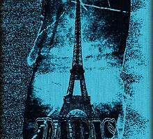 Vintage Blue Paris Eiffel Tower 2 by Nhan Ngo