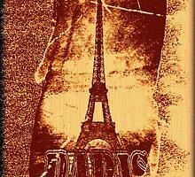 Vintage Brown Paris Eiffel Tower  by Nhan Ngo