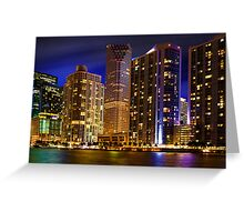 Miami Skyline at Night Greeting Card