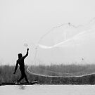 A fisherman in Benin - B&W by Yannick Verkindere