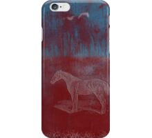 lonely horse in the red field, flying birds, blue, red iPhone Case/Skin