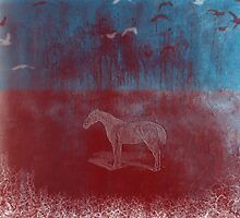 lonely horse in the red field, flying birds, blue, red by jblitlemonsters