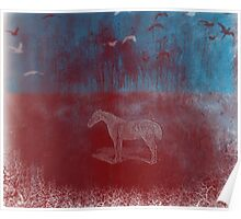 lonely horse in the red field, flying birds, blue, red Poster