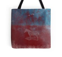 lonely horse in the red field, flying birds, blue, red Tote Bag