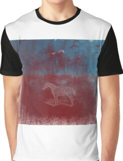 lonely horse in the red field, flying birds, blue, red Graphic T-Shirt