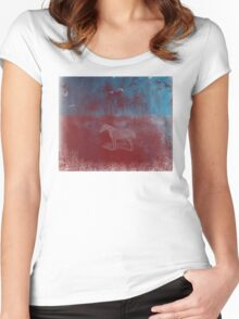 lonely horse in the red field, flying birds, blue, red Women's Fitted Scoop T-Shirt