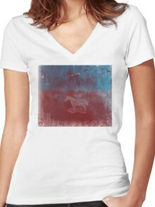 lonely horse in the red field, flying birds, blue, red Women's Fitted V-Neck T-Shirt