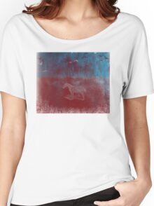 lonely horse in the red field, flying birds, blue, red Women's Relaxed Fit T-Shirt